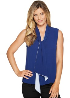 Vince Camuto Sleeveless Tie Neck Color Blocked Blouse