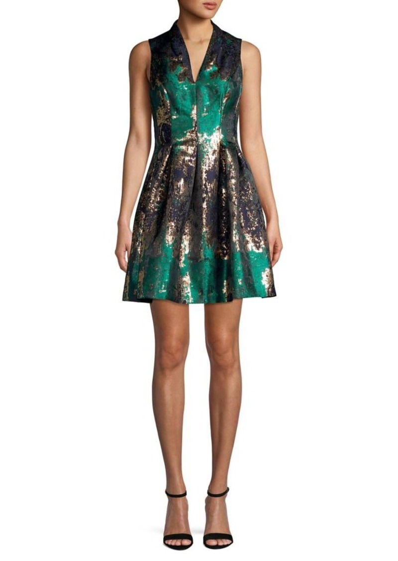 Vince Camuto Sleeveless V-Neck Metallic Pleated Dress