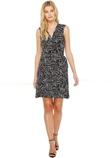 Vince Camuto Sleeveless Villa Graphic Ribbon Belted Wrap Dress
