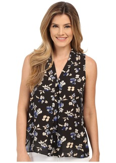Vince Camuto Sleeveless Wistful Petal V Blouse w/ Front Pleat
