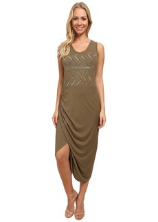 Vince Camuto Sleeveless Wrap Front Tank Dress w/ Embroidery