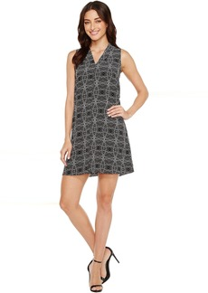 Vince Camuto Sleeveless Yoruba Graphic Invert Pleat Dress