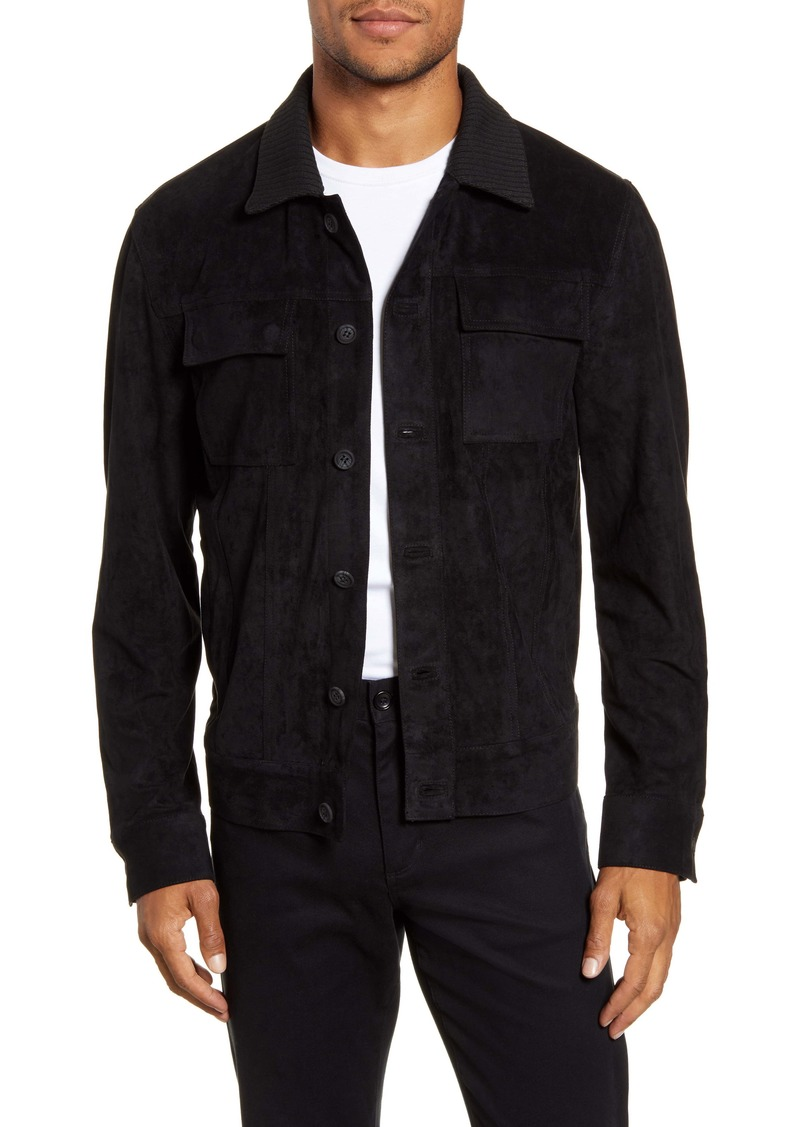 Vince Camuto Slim Fit Sueded Trucker Jacket