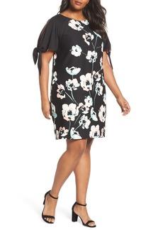 Vince Camuto Slit Sleeve Floral Shift Dress (Plus Size)