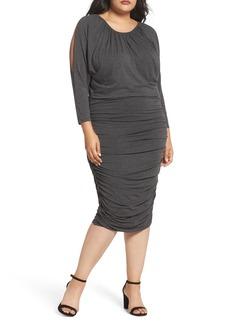 Vince Camuto Slit Sleeve Knit Sheath Dress (Plus Size)