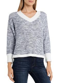 VINCE CAMUTO Slub Terry V Neck Sweater