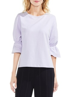 Vince Camuto Smocked Elbow Sleeve French Terry Top (Regular & Petite)