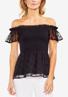 Vince Camuto Smocked Off-The-Shoulder Top