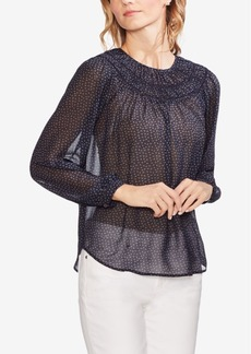 Vince Camuto Smocked Sheer Peasant Top