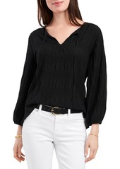 VINCE CAMUTO Smocked Textured Blouse