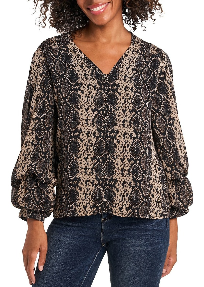 VINCE CAMUTO Snake Print Balloon Sleeve Top
