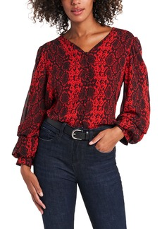 Vince Camuto Snake Print Billow Sleeve Blouse