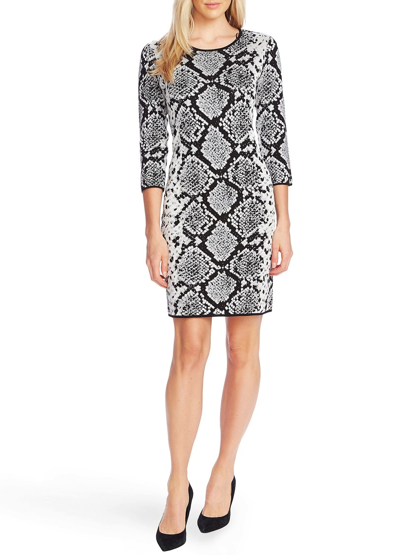 Vince Camuto Snake Print Jacquard Cotton Cocktail Dress
