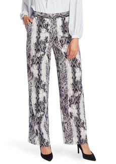 Vince Camuto Snake Print Pintuck Wide Leg Trousers