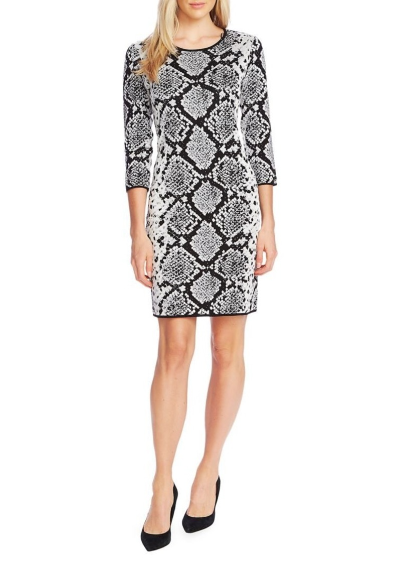 Vince Camuto Snakeskin-Print Jacquard Sheath Dress