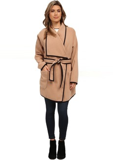 Vince Camuto Soft Collar Belted Plush Coat