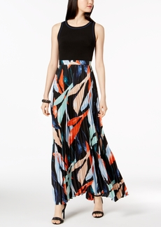 Vince Camuto Solid & Pleated Floral Chiffon Maxi Dress