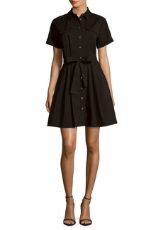 Vince Camuto Solid Belted Shirt Dress