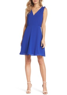 Vince Camuto Soufflé V-Neck Chiffon Dress (Regular & Petite)