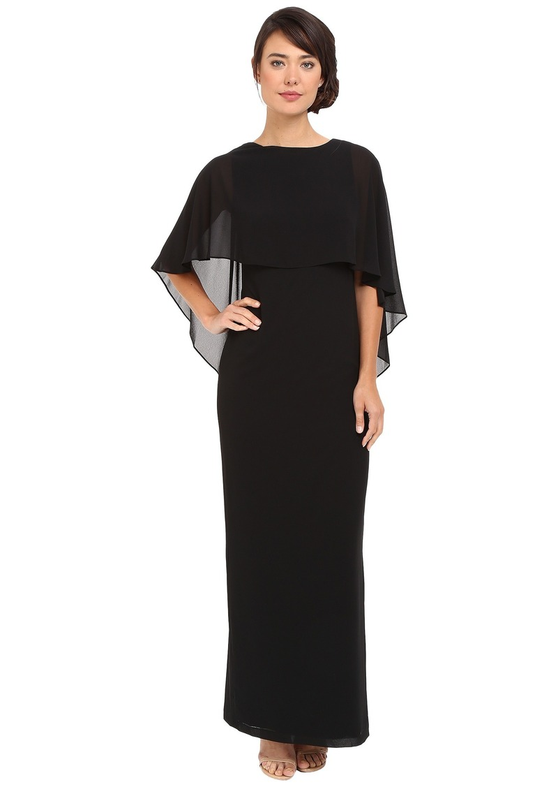 Vince Camuto Souffle Gown with Cape Overlay