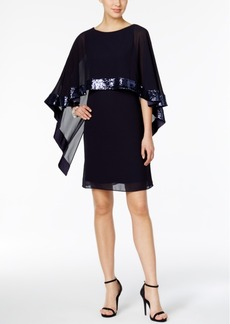 Vince Camuto Sparkle Capelet Sheath Dress