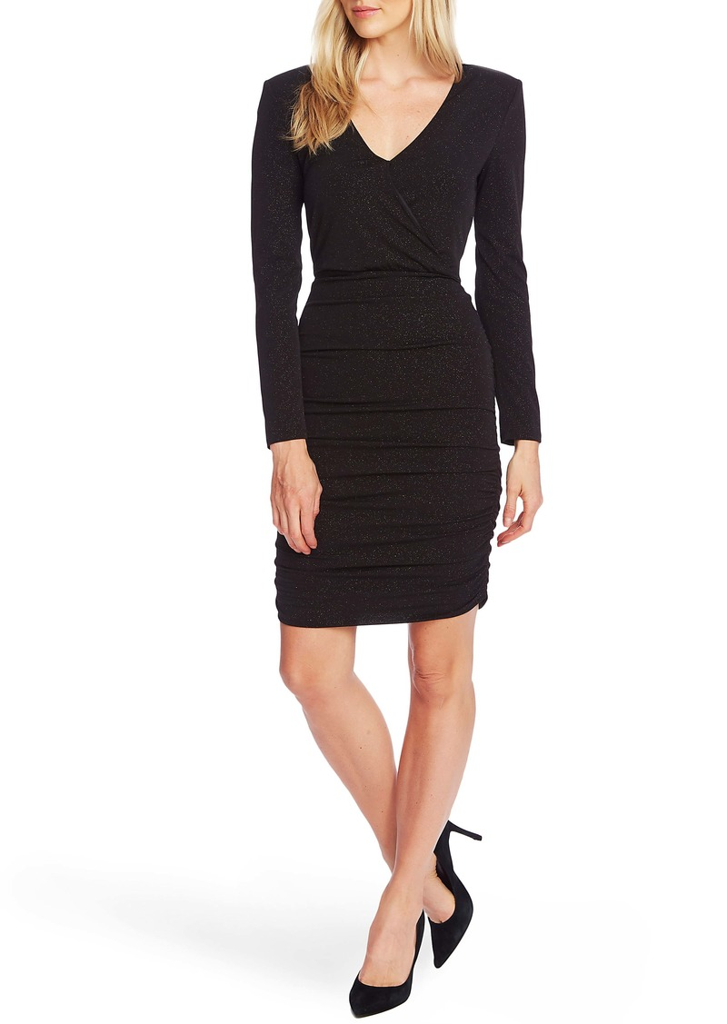 Vince Camuto Sparkle Long Sleeve Faux Wrap Dress