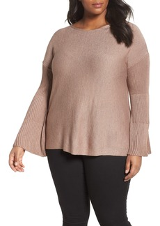 Vince Camuto Sparkly Bell Sleeve Sweater (Plus Size)