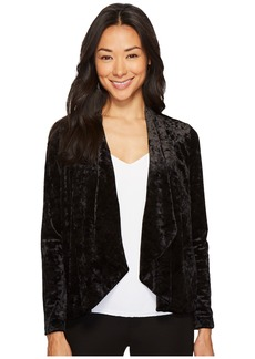 Vince Camuto Petite Drape Collar Open Front Crushed Velvet Jacket