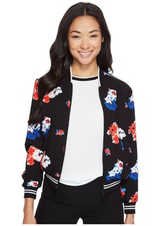 Vince Camuto Specialty Size Petite Traveling Bloom Zip Front Bomber Jacket