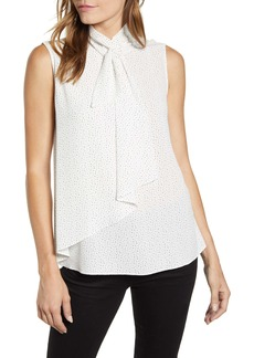 Vince Camuto Speckle Dot Tie Neck Sleeveless Blouse