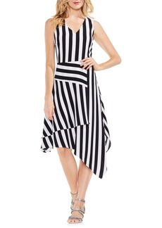 Vince Camuto Spectator Stripe Asymmetrical Hem Dress