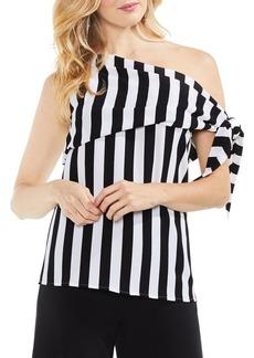 VINCE CAMUTO Spectator Stripe One-Shoulder Tee