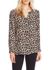 Vince Camuto Split Neck Leopard Print Tunic Top