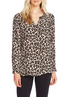 Vince Camuto Split Neck Leopard Print Tunic Top
