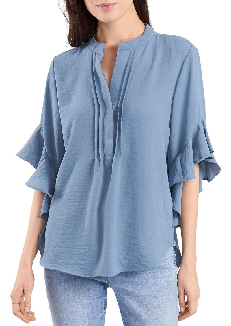 VINCE CAMUTO Split Neck Ruffle Sleeve Blouse