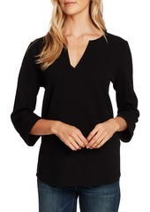 Vince Camuto Split Neck Textured Knit Top