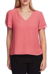 Vince Camuto Split Ruffle Sleeve Georgette Top