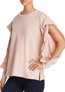 VINCE CAMUTO Split Ruffle Sleeve Sweatshirt