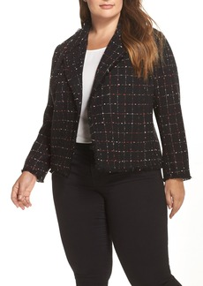 Vince Camuto Spring Windowpane Tweed Jacket (Plus Size)