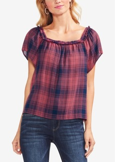 Vince Camuto Square-Neck Plaid Top