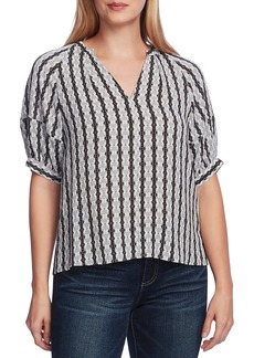 Vince Camuto Starburst Stripe Short Sleeve Blouse