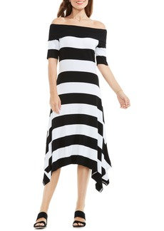 Vince Camuto Stripe Asymmetrical Off the Shoulder Dress