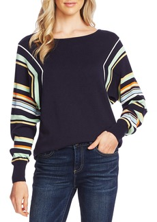 Vince Camuto Stripe Colorblock Dolman Sleeve Cotton Blend Sweater