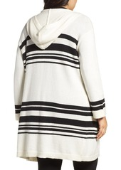 Vince Camuto Stripe Hooded Cardigan (Plus Size)