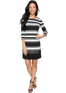 Vince Camuto Stripe Knit 3/4 Sleeve Shift Dress w/ Lace Trim