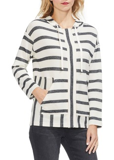 Vince Camuto Stripe Piqué Hooded Jacket