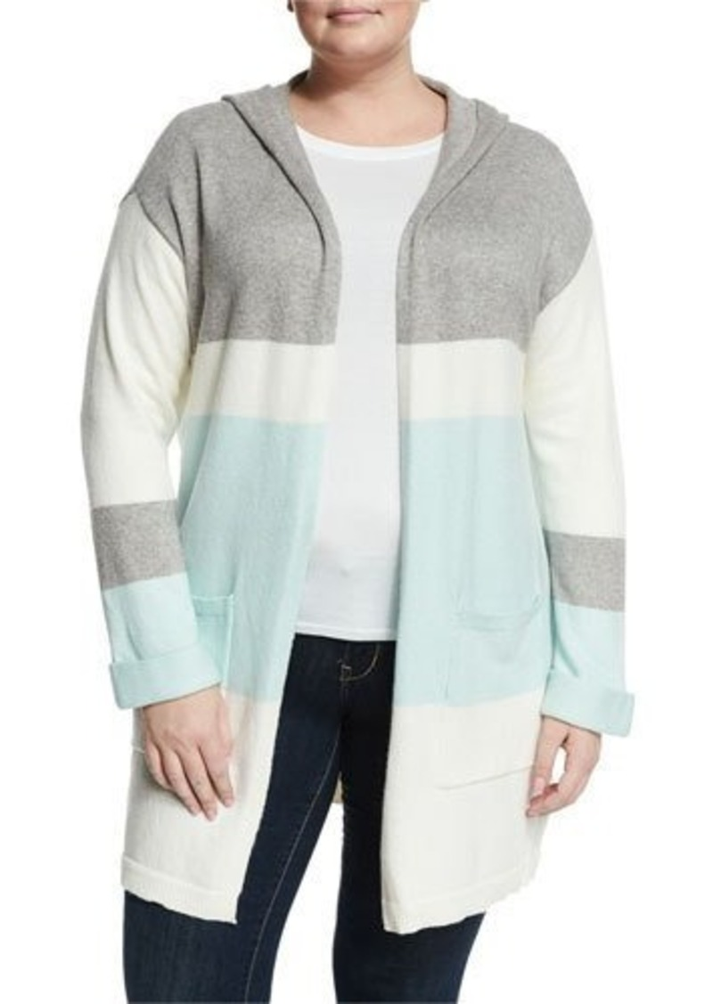 Vince Camuto Stripe-Print Open-Front Hooded Cardigan