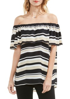 Vince Camuto Stripe Ruffle Off the Shoulder Blouse