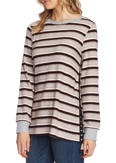Vince Camuto Stripe Side Snap Pullover