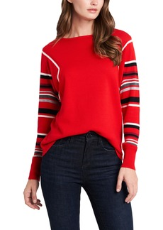Vince Camuto Stripe Sleeve Cotton Blend Sweater